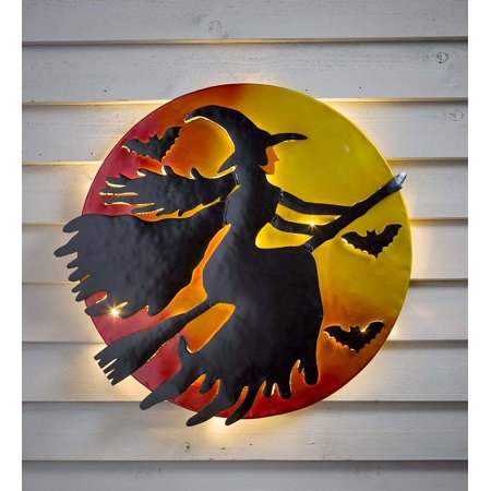 3D LED Lighted Flying Witch Recycled Metal Oil Drum Lid Halloween Wall - Lido Outdoor Wall