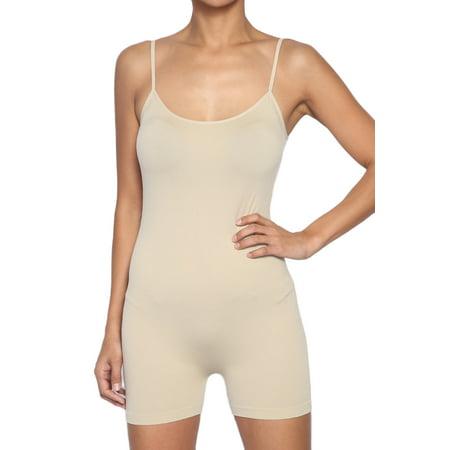 TheMogan Women's Spaghetti Strap Short Legging One Piece Romper Short Jumpsuit