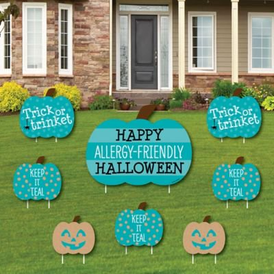 Halloween No Trick Or Treaters Sign (Teal Pumpkin - Yard Sign and Outdoor Lawn Decorations - Halloween Allergy Friendly Trick or Trinket Yard Signs - Set of)