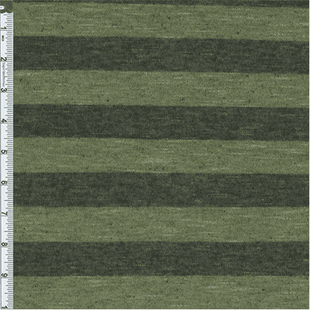 Olive Green/Black Stripe Slub Japanese Hatchi Knit, Fabric Sold By the Yard