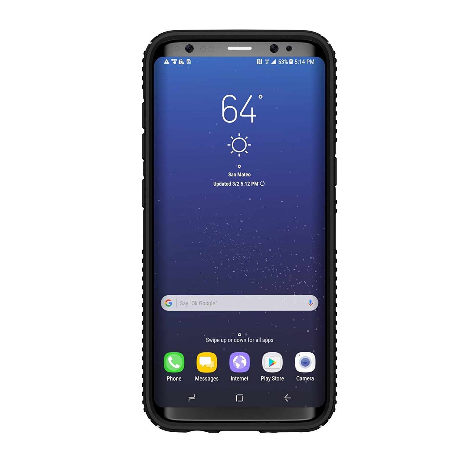 Speck Presidio Grip Case for Samsung Galaxy S8 Plus, Black/Black