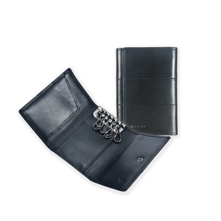 Key Wallet,Ikepod Tri-fold Key Wallet/Holder (3 Colour) [Full-grain Leather] for Men and Women [With 6 Hooks]