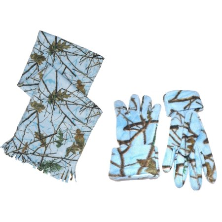 Women's Blue Camo Scarf and Gloves Set Sky Blue Forest](Long Blue Satin Gloves)