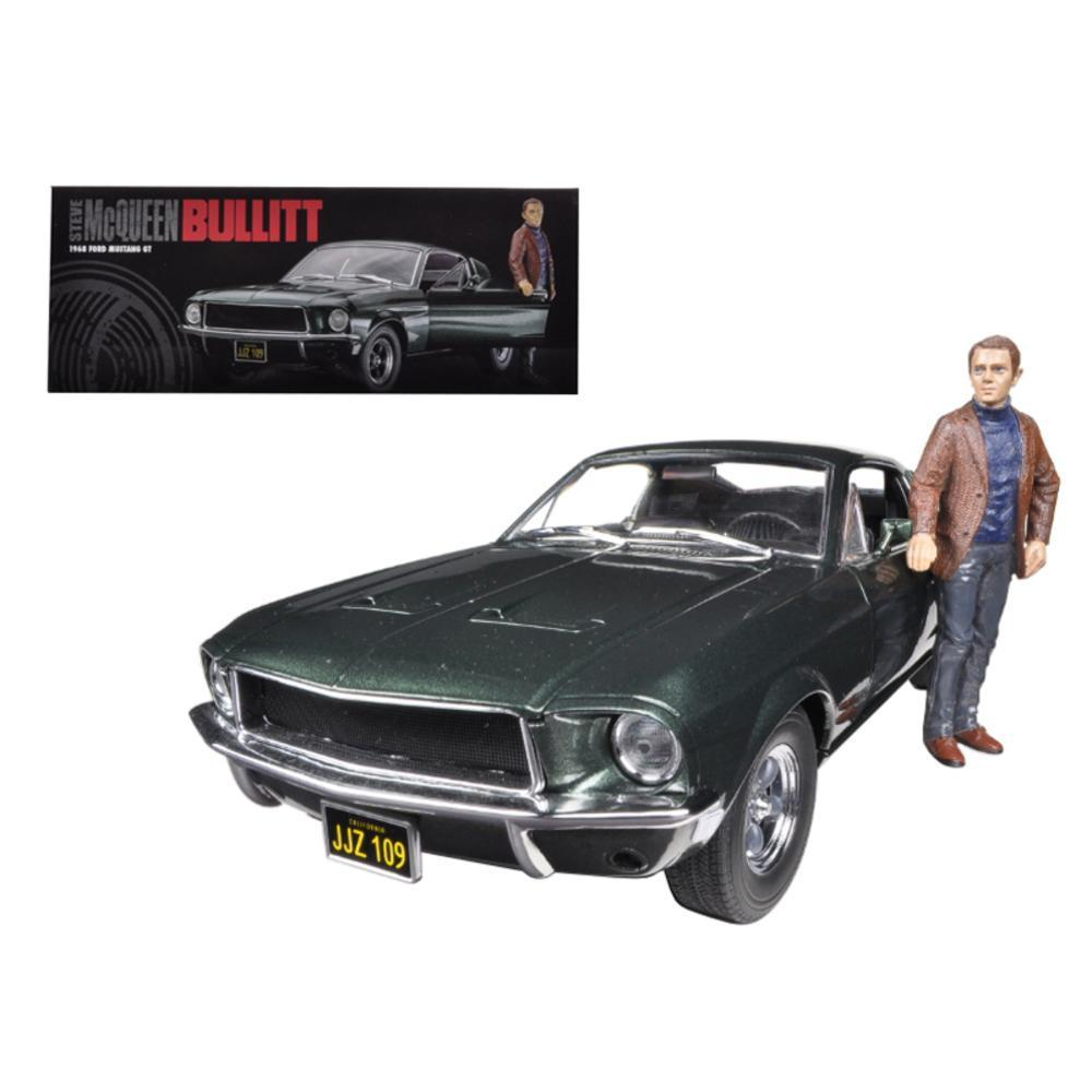 1968 ford mustang gt fastback bullitt highland green with steve mcqueen figure 1 18 diecast car model by greenlight