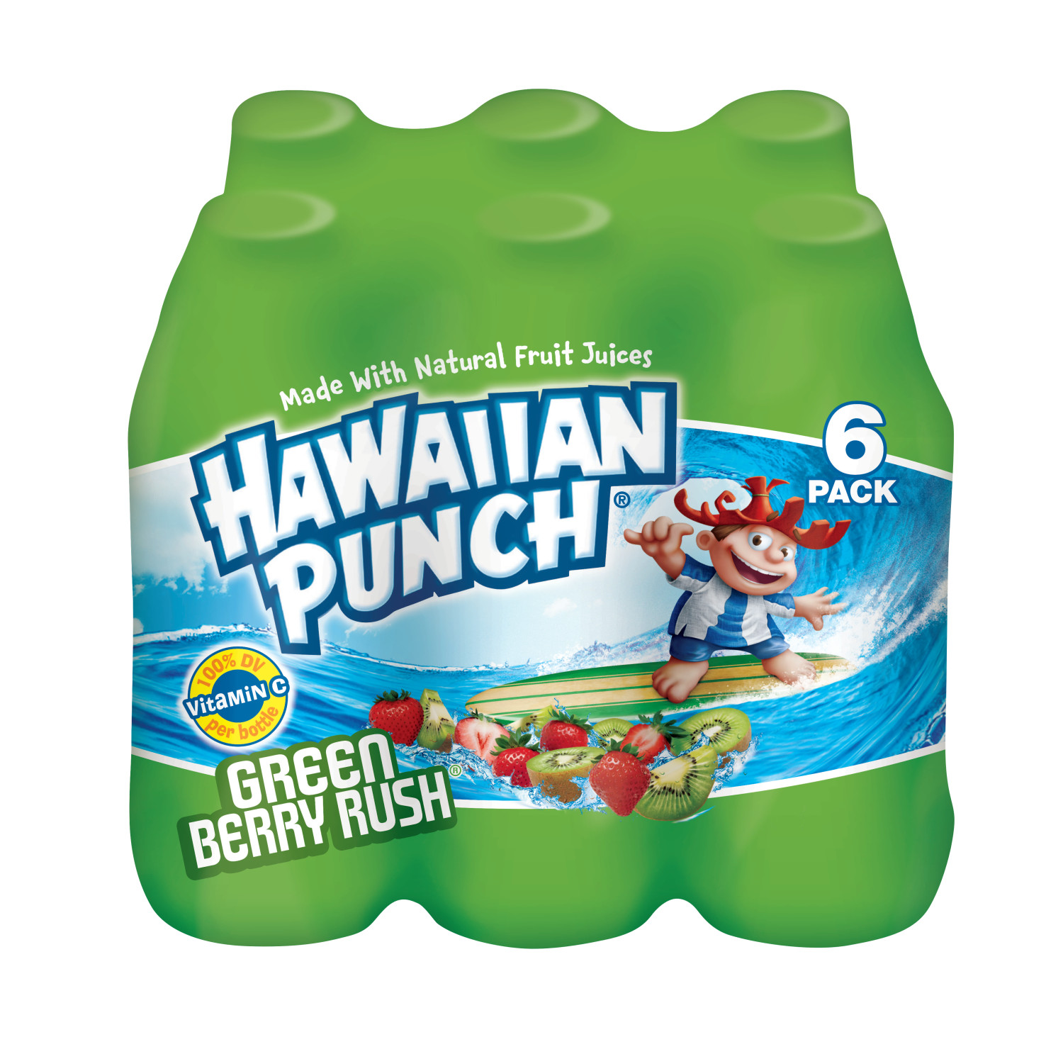 Hawaiian Punch Green Berry Rush Drink, 10 Fl. Oz., 6 Count