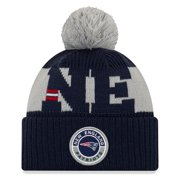 New England Patriots New Era Youth 2020 NFL Sideline Sport Pom Cuffed Knit Hat - Gray/Navy - OSFA