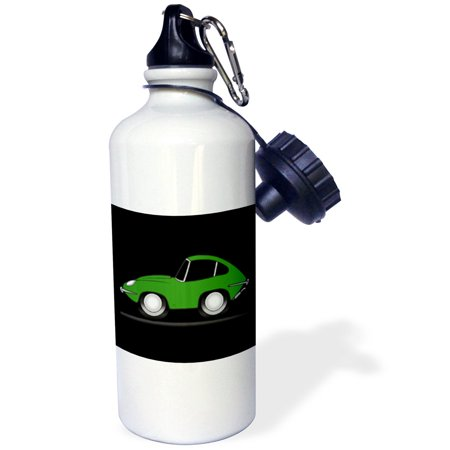 3dRose green e-type toon car on a black background, Sports Water Bottle, 21oz