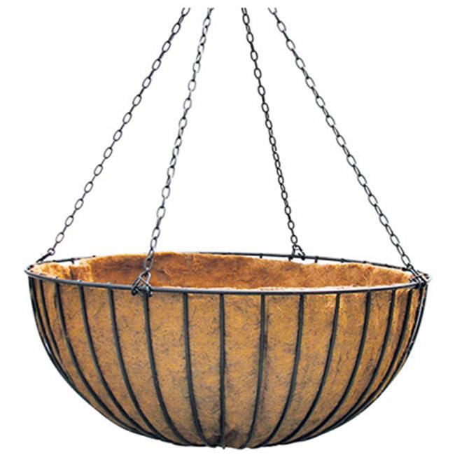 Border Concepts 72252 Hanging Flower Basket, Coco Liner, Black Steel, 14-In.