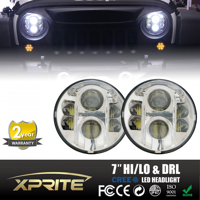 "Xprite 7"" Round Super Bright 120W Chrome CREE LED Projector Headlights With Halo DRL For 1997 - 2017 Jeep Wrangler JK Unlimited TJ LJ"