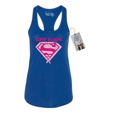 Breast Cancer Awareness Superwoman Womens Racerback Tank Top](Female Superwoman)