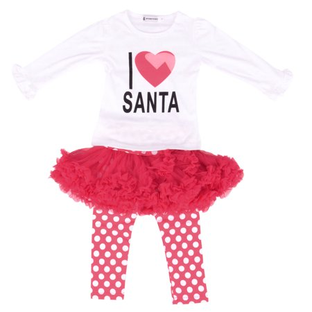 Nice & Comfortable Girl's Christmas Set, Leggings w/ Skirt & Top, Red (Nice Everyday Outfits)