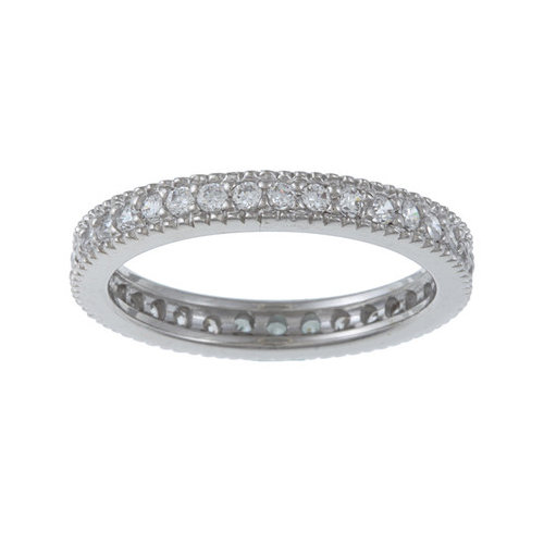 Zirconmania Sterling Silver Cubic Zirconia Micro Pave Eternity Stackable Ring