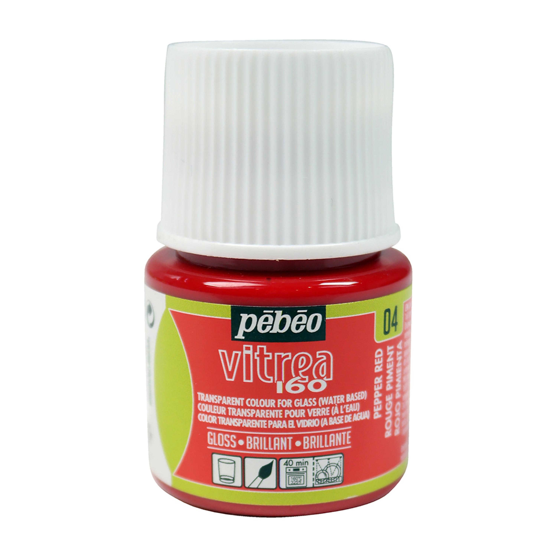 Pebeo Vitrea 160 Glass Paint, 45ml, Glossy, Pepper Red