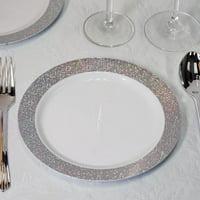 "12PK 7.5"" Disposable Salad Dessert Plates W/ Shiny Silver Dust Rims Kitchen"