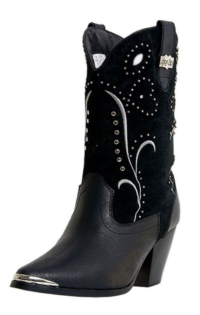 Dingo Fashion Boots Womens Ava Rivet Studded Suede Black DI 587 by Dingo