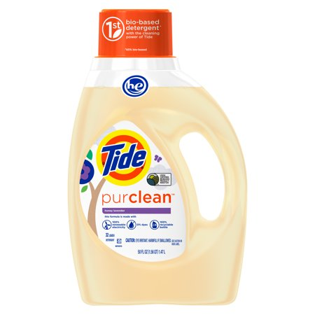 Tide Purclean Plant-based Laundry Detergent, Honey Lavender Scent, 50 oz, 32 loads - Roll Tide Colors