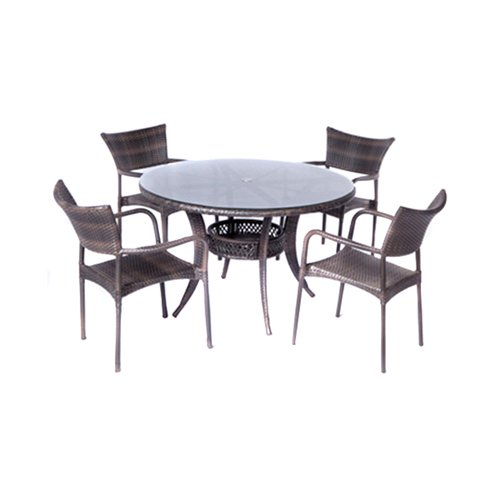 Alfresco Tutto 5 Piece Round Wicker Patio Dining Set - 43-1307