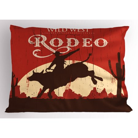 Vintage Pillow Sham Rodeo Cowboy Riding Bull Wooden Old Sign Western Wilderness at Sunset Image, Decorative Standard Size Printed Pillowcase, 26 X 20 Inches, Redwood Orange, by Ambesonne ()