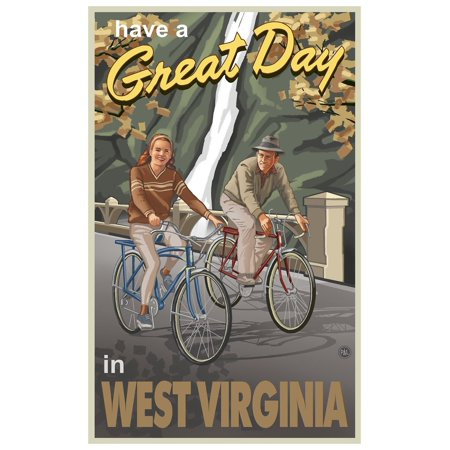 "West Virginia Couple Gorge Bikers Travel Art Print Poster by Paul A. Lanquist (12"" x 18"")"