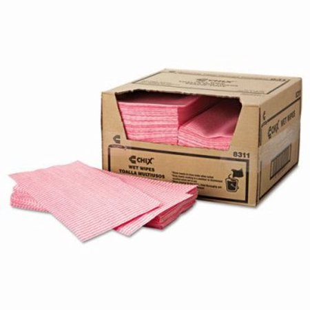 Chix Wet Wipes Food Service Towels, White/Pink, 200 Towels (CHI8311)