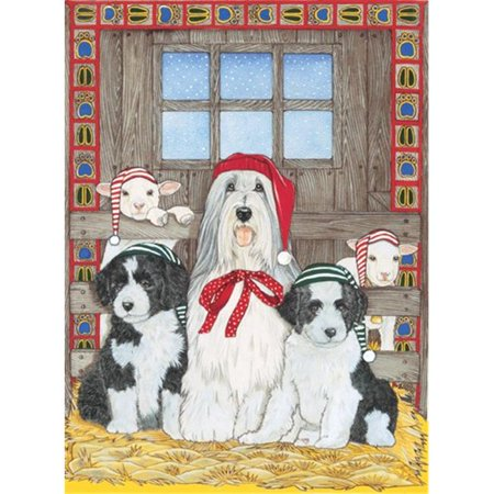 Pipsqueak Productions C970 Holiday Boxed Cards- Bearded Collie