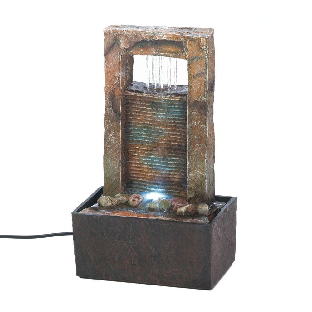 Tabletop Fountain Waterfall, Indoor Rock Fountain, Made With Polyresin
