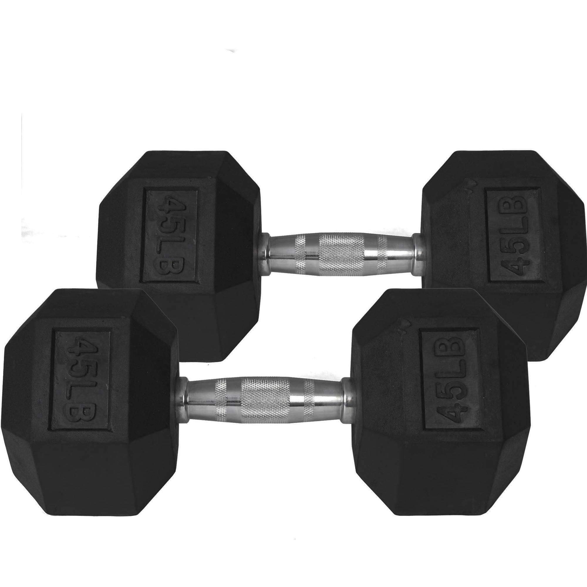 Pair of 45 lb Black Rubber Coated Hex Dumbbells Weight Training Set, 90 lb by Titan Fitness