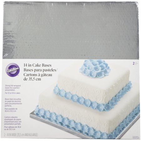 Wilton Silver Cake Base, Square, 14 inch, Set of