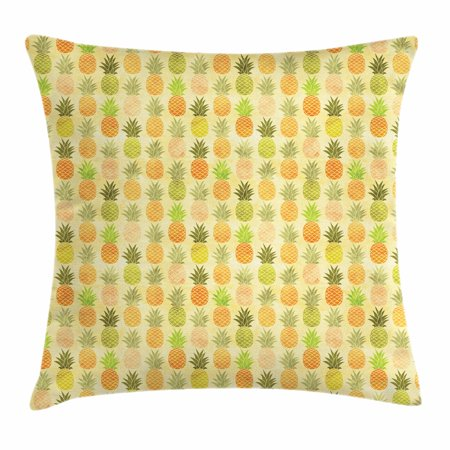 Vintage Throw Pillow Cushion Cover, Tropical Tasty Fruit Exotic Hawaiian Holiday Theme Illustration with Scales Pattern, Decorative Square Accent Pillow Case, 16 X 16 Inches, Multicolor, by - Hawaii Themes