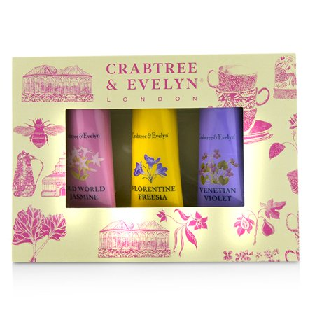 (Crabtree & Evelyn Heritage Hand Therapy Set (1x Old World Jasmine, 1x Florentine Freesia, 1x Venitian Violet) - 3x25g/0.9oz)