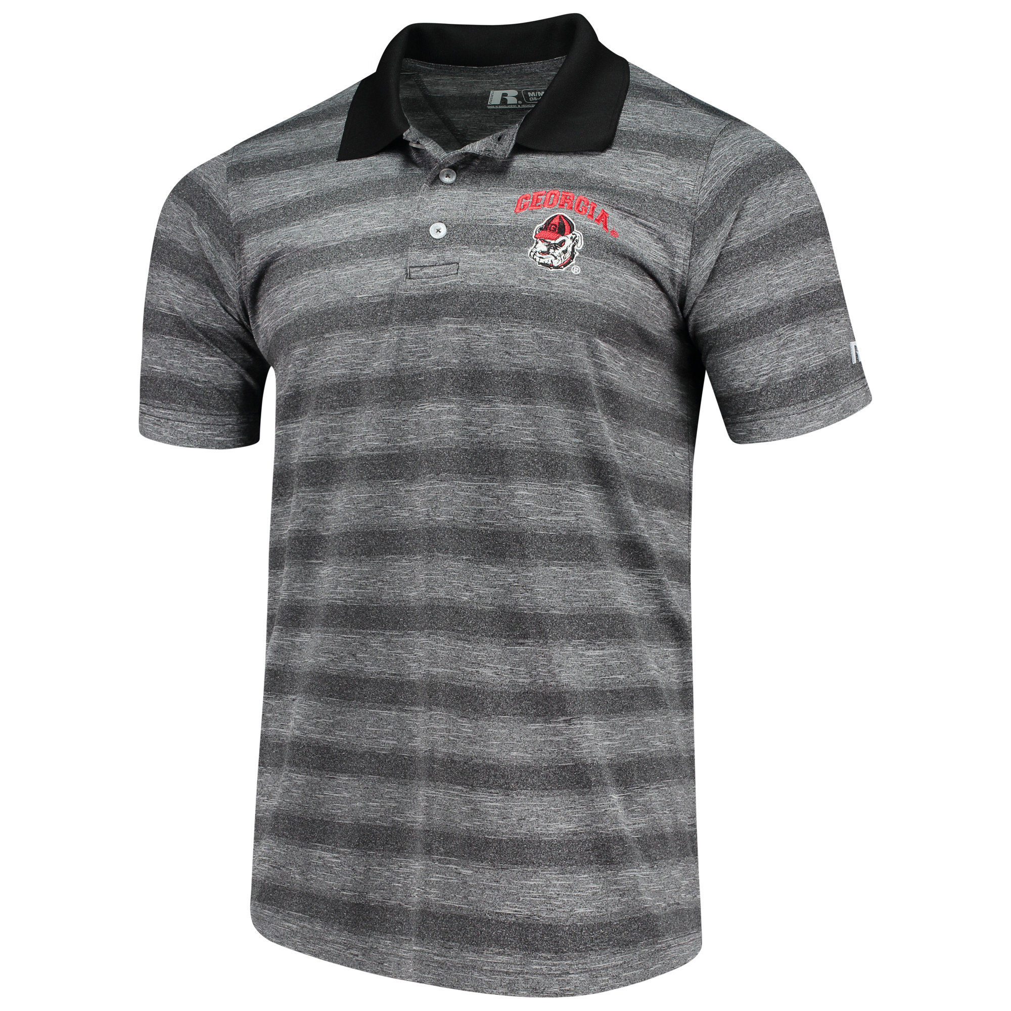 Men's Russell Heathered Black Georgia Bulldogs Classic Striped Polo