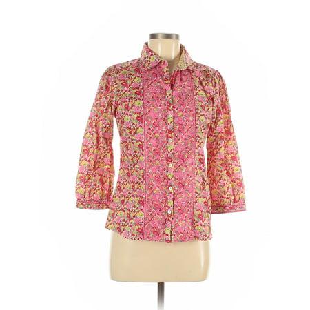 Pre-Owned Robert Graham Women's Size M 3/4 Sleeve Button-Down Shirt Robert Graham Designer Dress Shirt