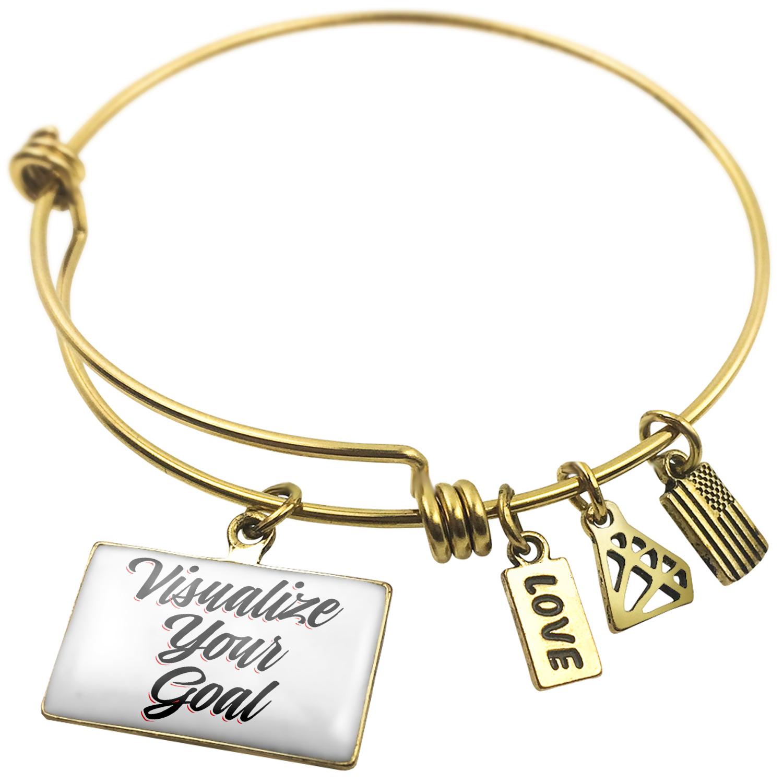 Expandable Wire Bangle Bracelet Vintage Lettering Visualize Your Goal - NEONBLOND