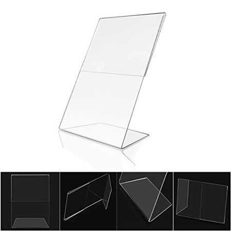 Acrylic 4x6 Sign Holders Bulk 12 Pack Picture Frames Vertical and Horizontal Slanted (Birthday Photo Holder)