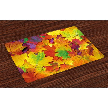 Fall Placemats Set of 4 Different Colored Vibrant Many Autumn Maple Leaves Nature in November Scenery Photo, Washable Fabric Place Mats for Dining Room Kitchen Table Decor,Yellow Purple, by Ambesonne