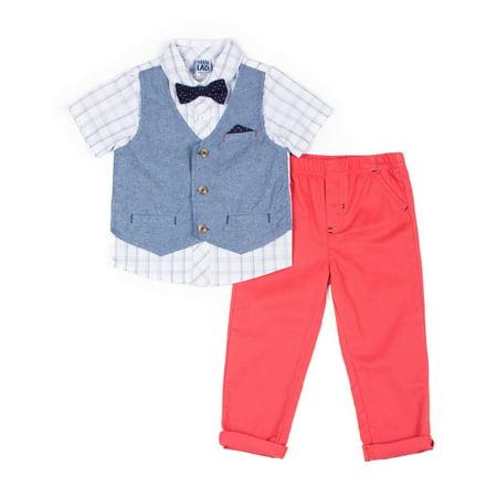 Short Sleeve Plaid Poplin Button Up Shirt, Peached Twill Pant, Printed Twill Bowtie & Woven Chambray Vest, 4pc Dressy Set (Baby Boys) - Peachy Boys