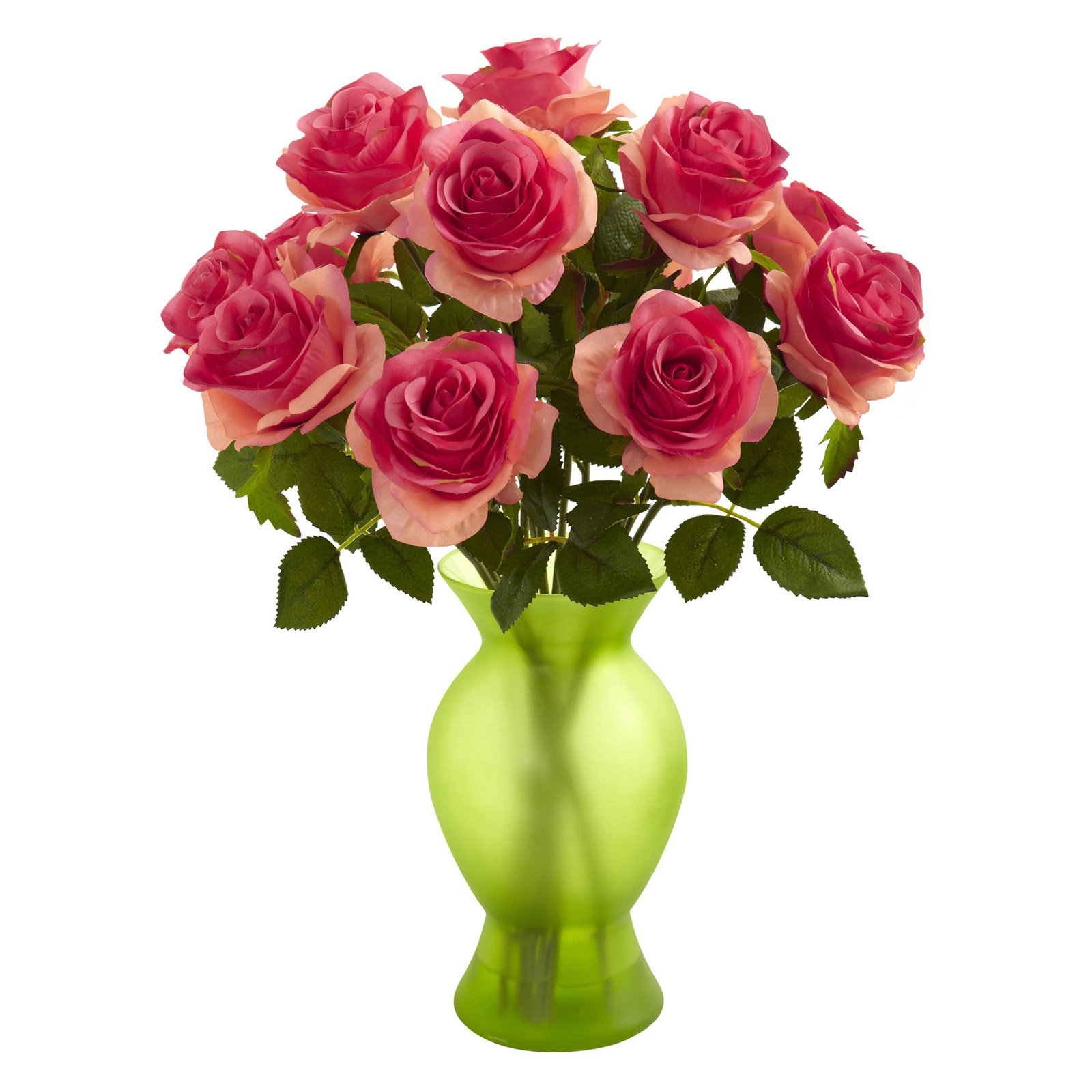 Nearly Natural Roses Silk Flower with Glass Vase