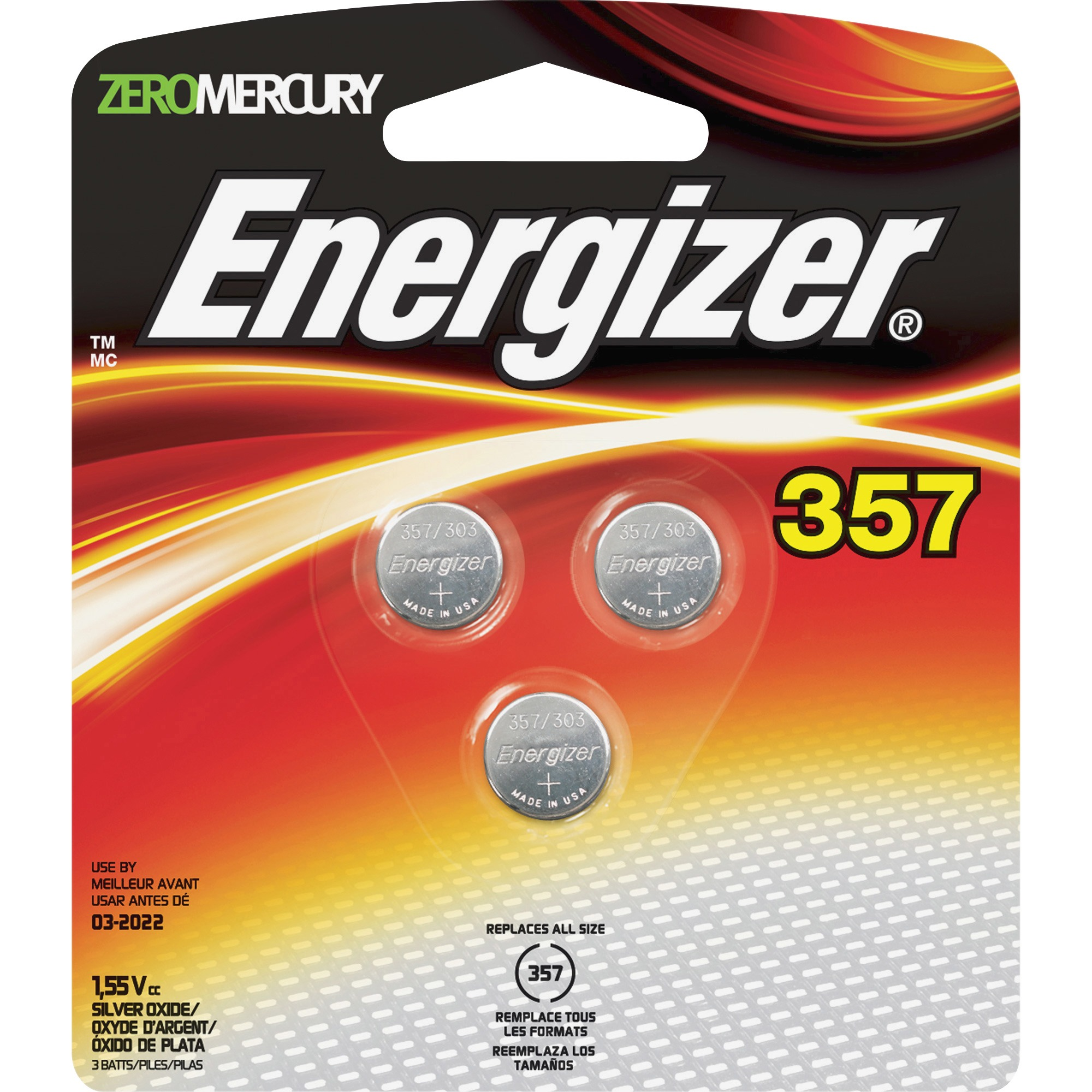 Energizer 357 Silver Oxide Button Battery, 3-Pack