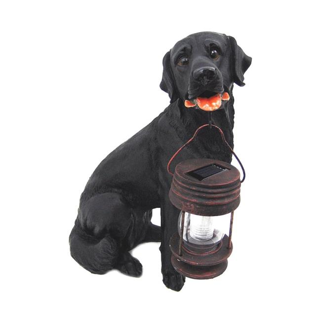 Black Labrador Dog With Lantern Solar Light