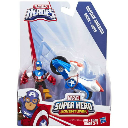 Marvel Super Hero Adventures Captain America with Racer Vehicle & Figure