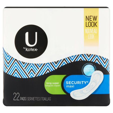 U By Kotex Security Maxi Pads Long Super Unscented 22