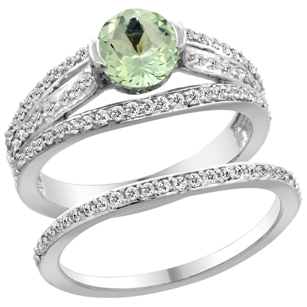 14K White Gold Natural Green Amethyst 2-piece Engagement Ring Set Round 6mm, size 5.5 by Gabriella Gold