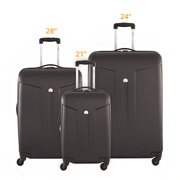 Delsey Comete Carry-on 24 Inch and 28 Inch - Black 3 Piece Set Spinner