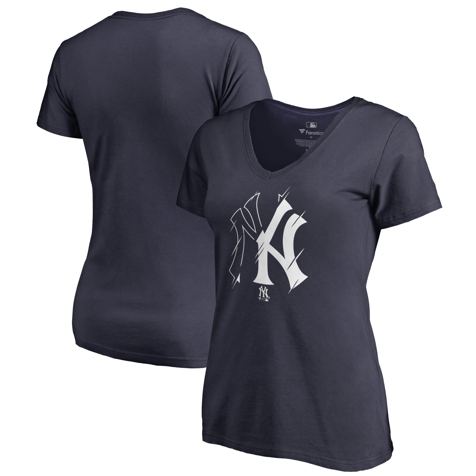New York Yankees Fanatics Branded Women's X-Ray Plus Size V-Neck T-Shirt - Navy