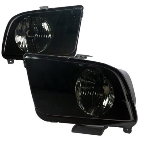 Spec-D Tuning LH-MST05SM-RS Euro Headlight for 05 to 09 Ford Mustang, Smoke - 10 x 17 x 23 in. - image 1 de 1