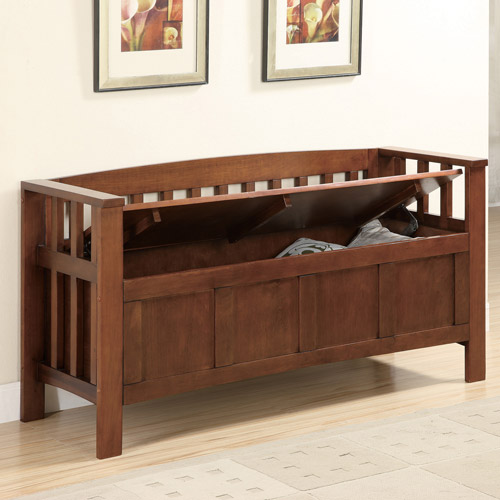 Accent Entryway Bench, Brown - Walmart.com | title
