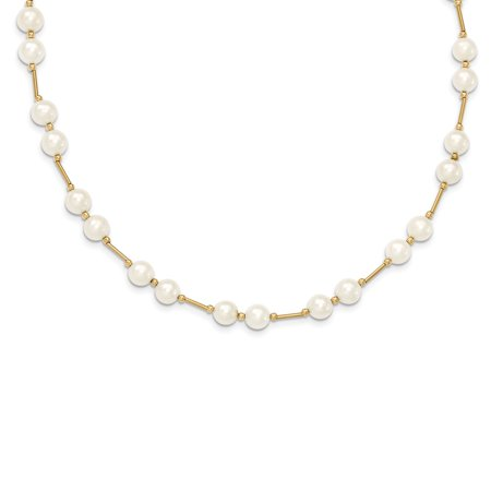 Roy Rose Jewelry 14K Yellow Gold Bead and 6-7mm White Freshwater Cultured Pearl Necklace ~ length: 18 inches