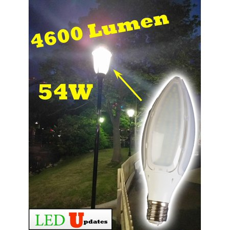 LEDUPDATES 54W Bright LIGHT BULB 4600LM LARGE E39 MOGUL BASE SOCKET CORN SHAPE DAYLIGHT WHITE 5000K 5500K FOR METAL HALIDE HID HPS REPLACEMENT PERFECT FOR WAREHOUSE HIGH BAY STREET LAMP LIGHTING - Metal Halide High Bay