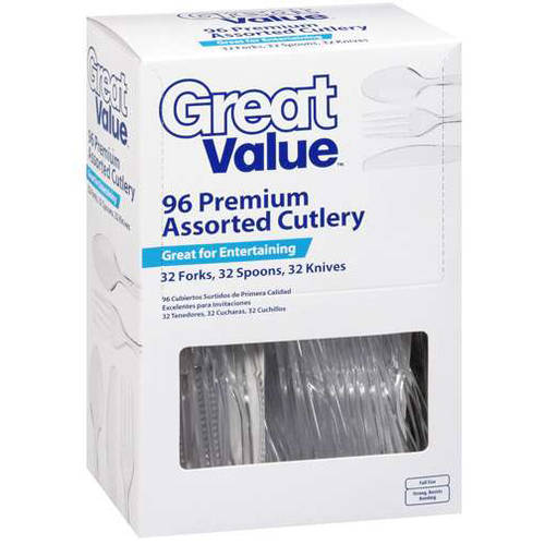 Great Value Premium Assorted Clear Cutlery, 96 ct