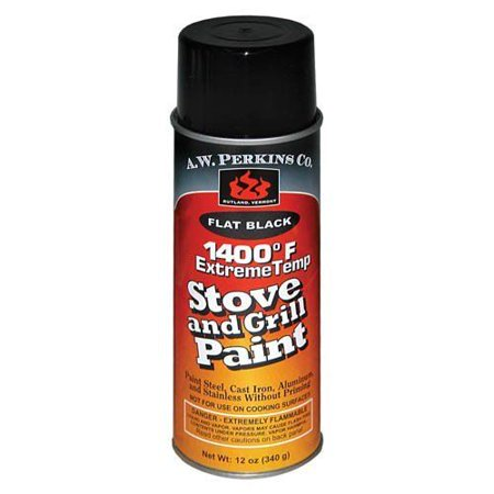 1400 Deg F Black Stove Paint Spray-On - 12 oz. The real value of AW Perkins 1400 Degree Spray-on Black Stove and Grill Paint is the level of protection it can offer your appliances. Stoves, obviously, operate at very high temperatures - temperatures too high for traditional paints. Most paints will crack, peel, and otherwise deteriorate very quickly on the surface of a stove or other such hot appliance. AW Perkins 1400 Degree Spray-on Black Stove and Grill Paint offers you an alternative that allows you to paint your stove in the style that you would like, and in a way that can stand up to harsh treatment. This not only improves the look of your stove, but also enhances the life of the stove by preventing rust, wear, and weathering. Essentially, AW Perkins 1400 Degree Spray-on Black Stove and Grill Paint is an investment in and an insurance policy towards the future of your stove or other high-temperature appliance. Matte Black, Non-Peeling Paint. Stands Up To The Most Extreme Operating Environments. Protects And Extends The Life Of Cast Iron And Steel. Size: 12 oz. Spray Can. Features: No HAPS, Rust-inhibiting formula, Low VOC. Matte Black, Non-Peeling Paint. Stands Up To The Most Extreme Operating Environments. Protects And Extends The Life Of Cast Iron And Steel. Size: 12 oz. Spray Can. Package Quantity: 1.